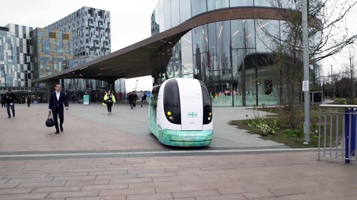 GATEway driverless car being takes a drive around North Greenwich as part of a trial to see how the general public reacts.