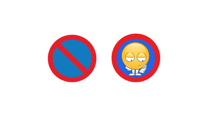 No stopping: real road sign vs emoji road sign, part of a MORE TH>N SM>RT WHEELS study