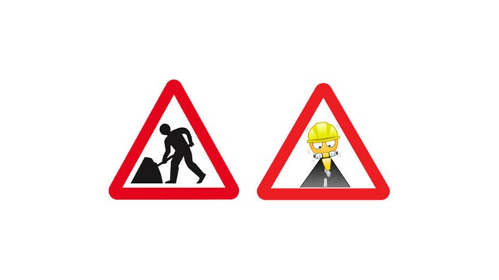 Road works: real road sign vs emoji road sign, part of a MORE TH>N SM>RT WHEELS study