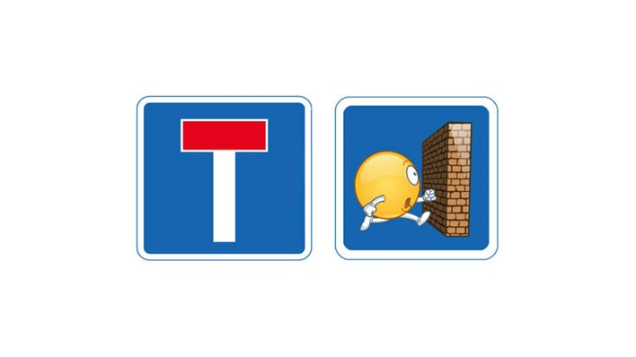 Dead end: real road sign vs emoji road sign, part of a MORE TH>N SM>RT WHEELS study