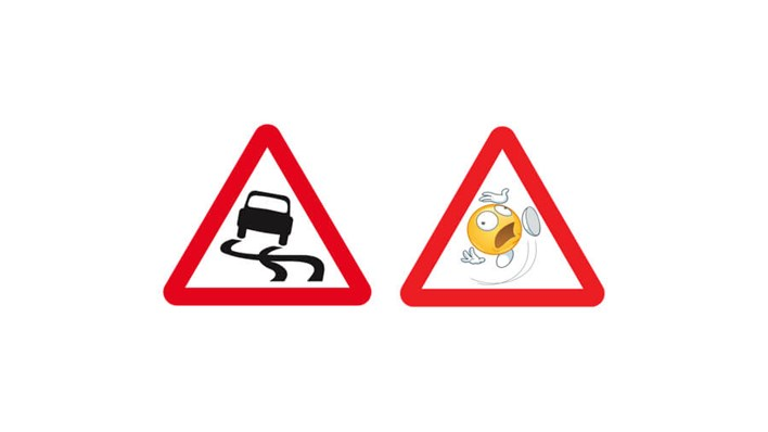 Slippery: real road sign vs emoji road sign, part of a MORE TH>N SM>RT WHEELS study