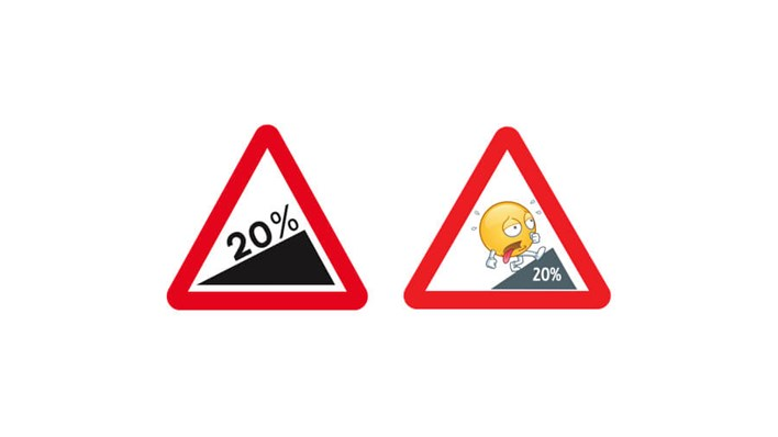 Steep incline 20%: real road sign vs emoji road sign, part of a MORE TH>N SM>RT WHEELS study