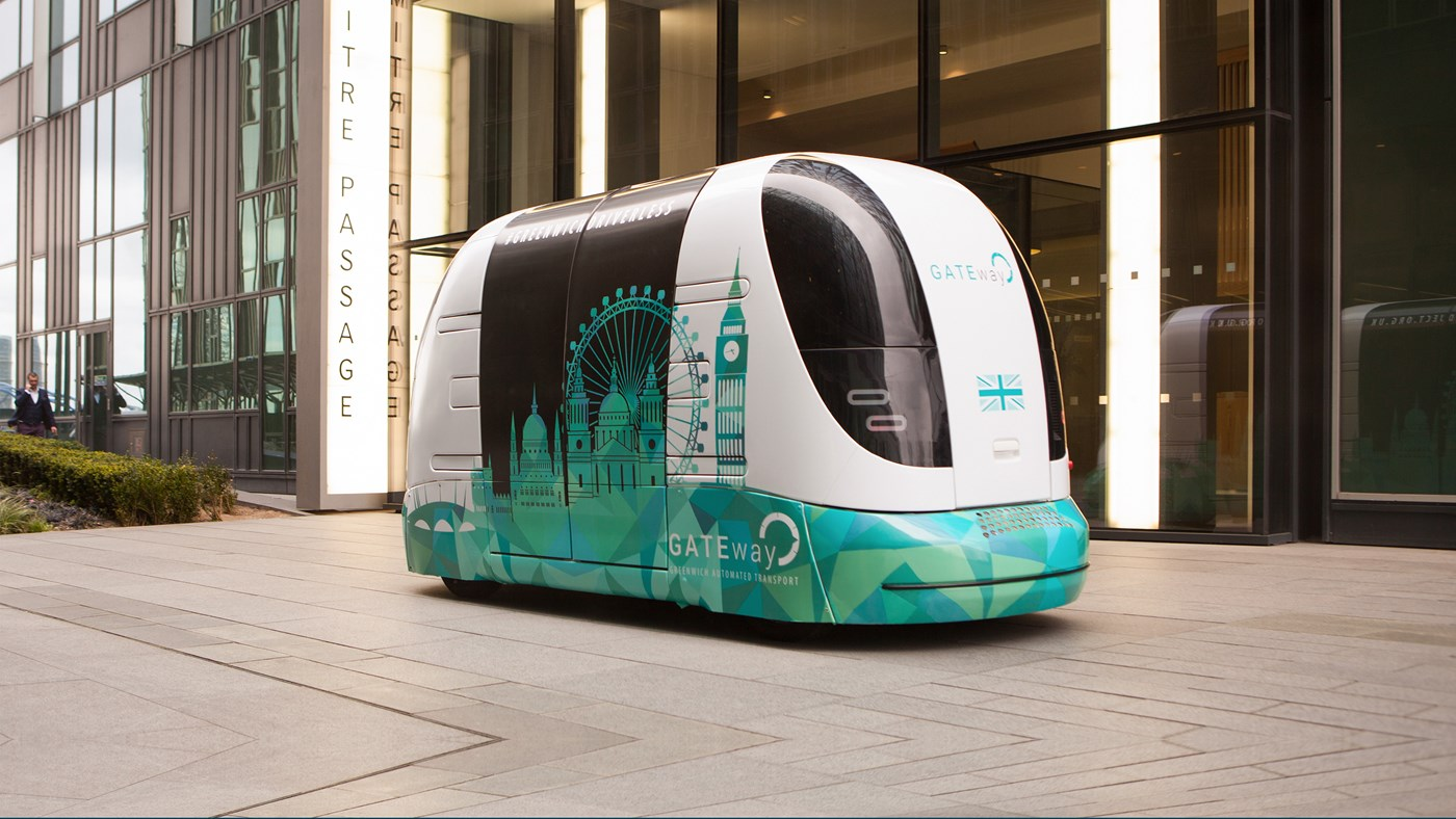 London's GATEway project is trialling driverless 'pods' in North Greenwhich. This is one of the pods. Credit: The GATEway project.