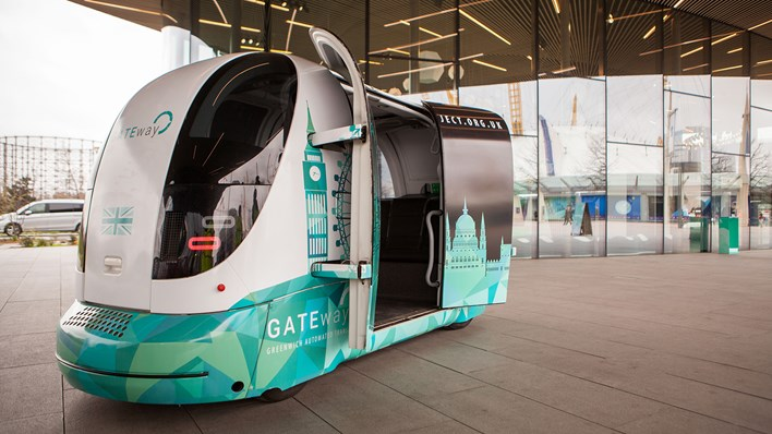 GATEway driverless pod parked near London's North Greenwich station with doors open - credit GATEway project