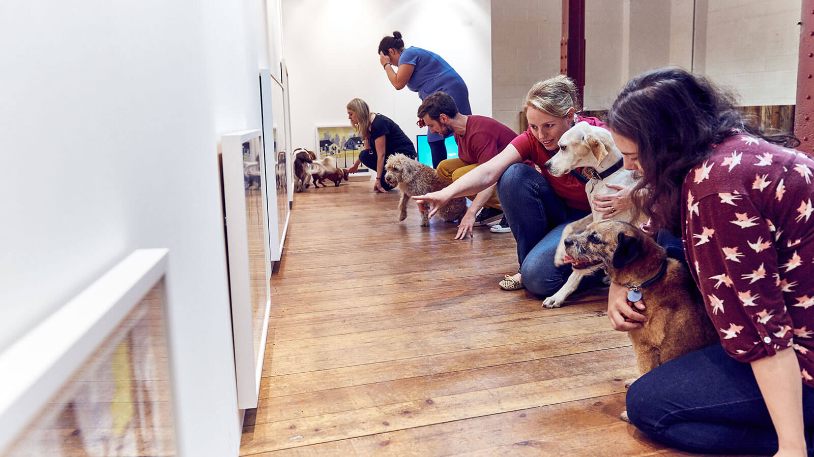 Five dogs and their owners line up at the gallery wall to study the artworks on display at MORE TH>N's Play More interactive art exhibition for dogs. Copyright MORE THAN
