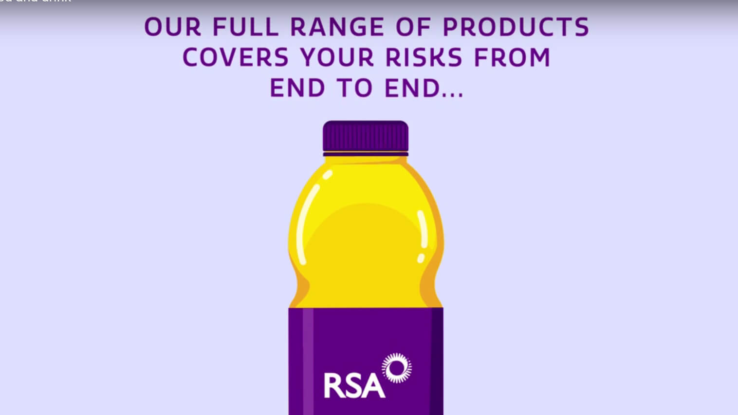Still from our Food and Drink commercial insurance product film, showing a cartoon drink bottle with an RSA label.