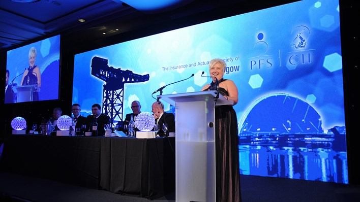 Liz Dalton, RSA Scotland broker development manager, gives a speech at the 2016 Glasgow annual insurance institute dinner.