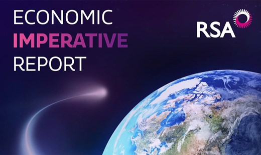 "Extract from the cover of RSA's ""Economic Imperative Report"" showing plant Earth viewed from space. Copyright RSA"