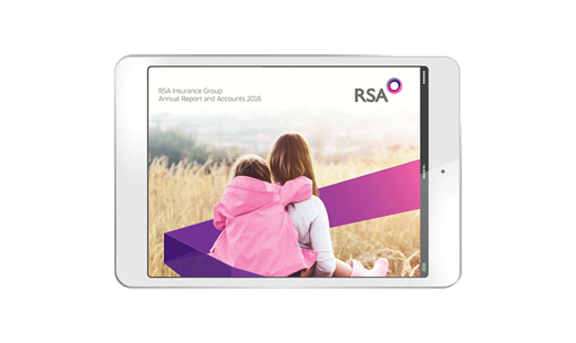 RSA 2016 Annual Report and Accounts cover shown on a tablet screen. Woman carries a small child on her back through a field of tall grass. Copyright RSA