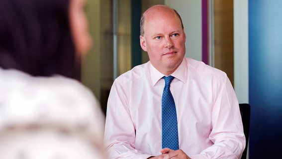 RSA Group chief executive, Stephen Hester, in a meeting. Copyright RSA