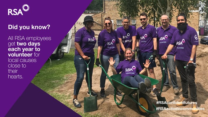 RSA volunteers taking a break from helping out at a community gardening project. All RSA employees get two days a year to volunteer!
