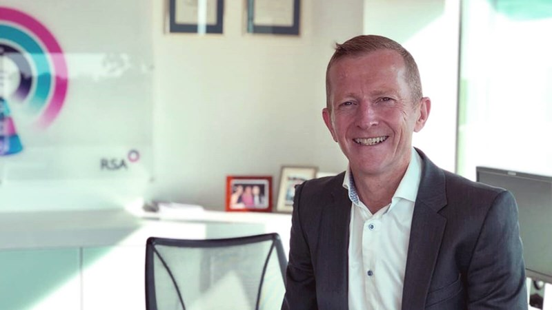 Ken Norgrove, CEO of RSA Scandnavia (Trygg-Hansa/Codan) sits at his desk. Copyright RSA