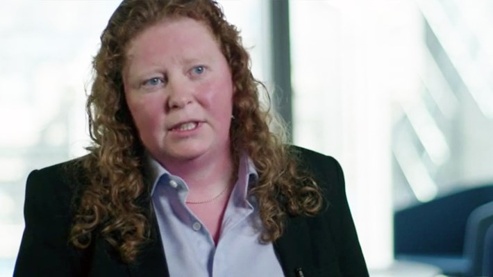 Adele Sumner talking about insurance fraud detection techniques - still from a filmed interview. Copyright RSA